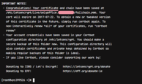 Let's Encrypt SSL certificate has been created Successfully