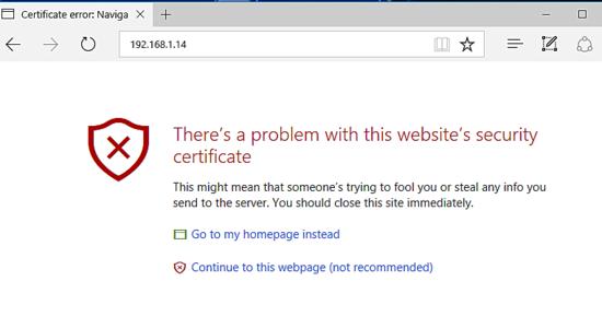 Self signed SSL certificate warning