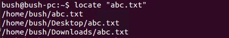 Locate command example