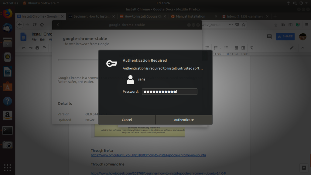 Authenticate yourself as system administrator