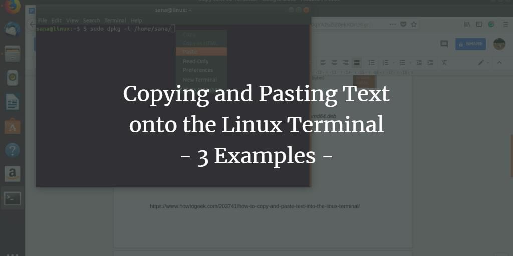 Copy and paste text to Linux terminal