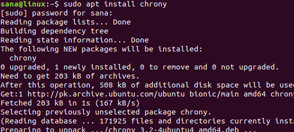 Install software: chrony