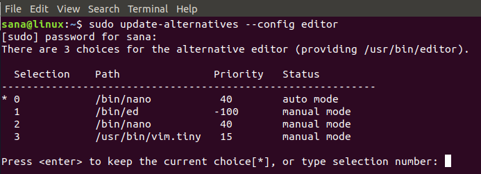 Change the Ubuntu default text editor