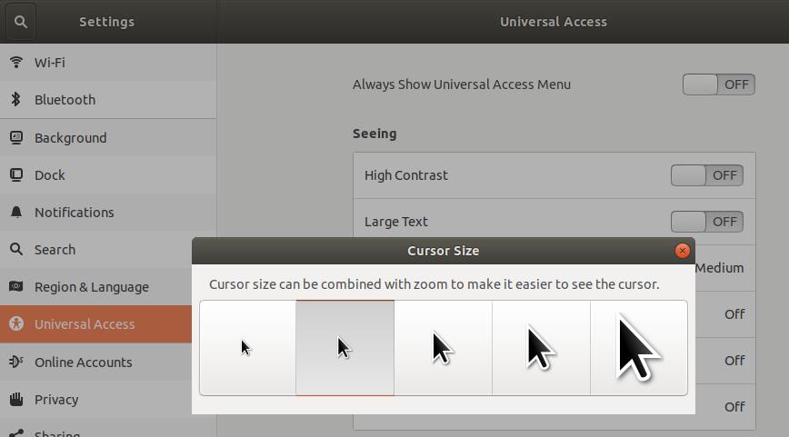 Select Cursor size