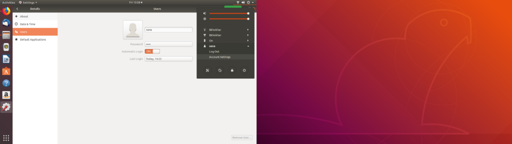 Add Ubuntu User trough GUI