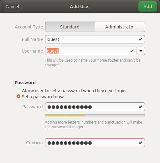 Create standard or administrative user