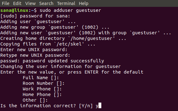 Add a user by using the adduser command