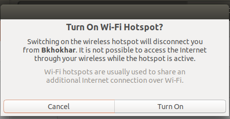 Confirm to turn on Wi-Fi Hotspot on Ubuntu