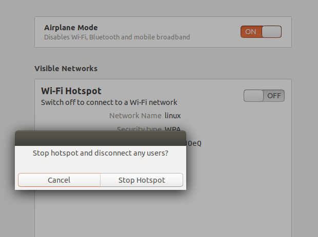 Toggle Wi-Fi Hotspot button to off