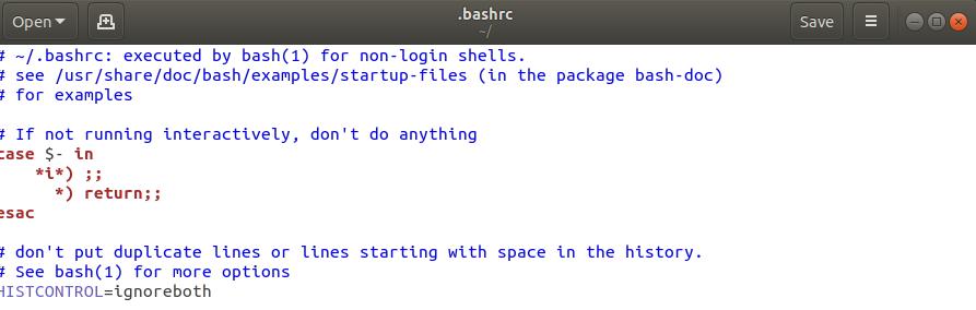 Bashrc file in editor