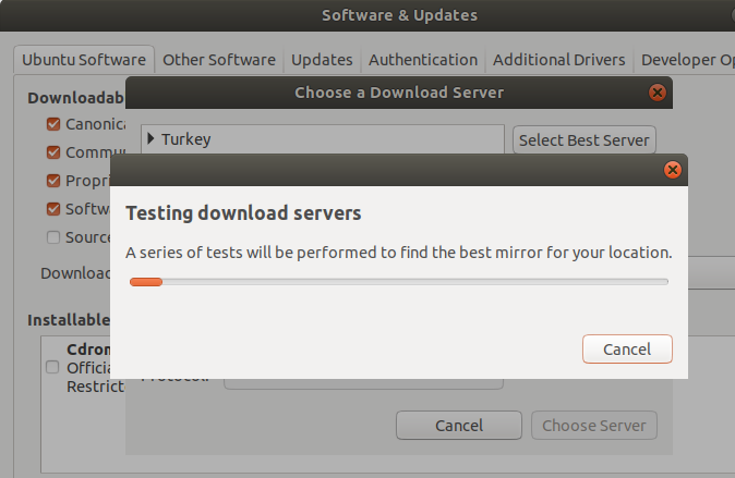 Test download servers