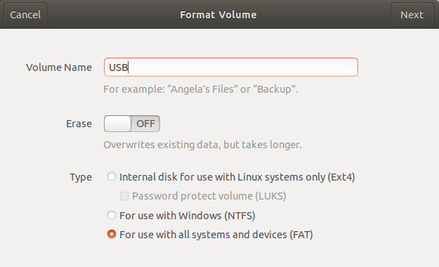 How to Format a USB drive in Ubuntu