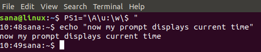 Show system time in command prompt