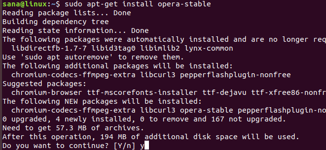 Install package with apt package manager