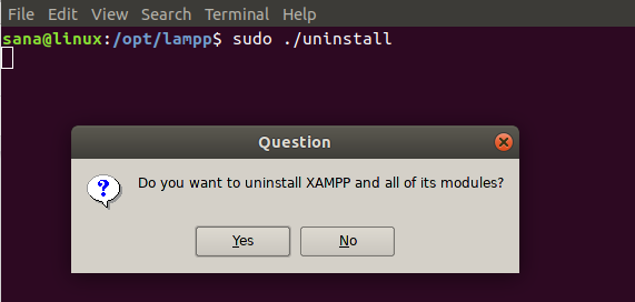 Command to uninstall XAMPP