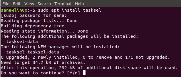 Install Tasksel