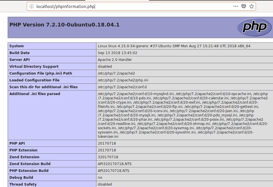 PHP info on Ubuntu LAMP Server