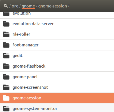 Select /org/gnome/gnome-session/