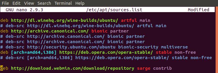 Add Webmin repository