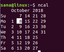 Linux ncal command