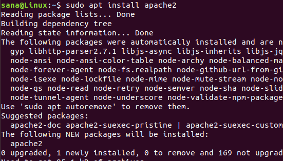 Install Apache web server with apt