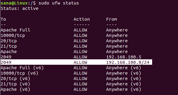 UFW Firewall Status
