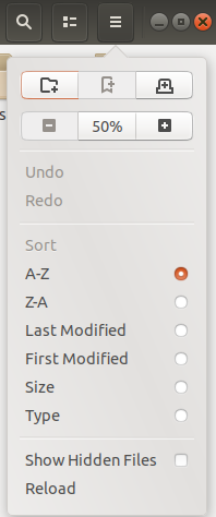 Use options Button for sorting