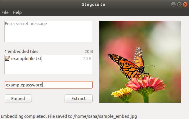 Enter secret message or embed file