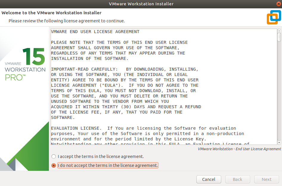 VMWare Workstation installer