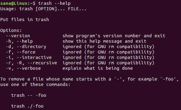 A Trash-Bin for the Ubuntu Command Line