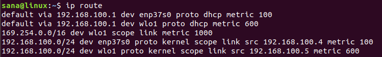 Using ip command to list routes