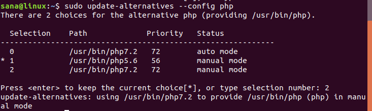Alternative way to change CLI PHP on Ubuntu