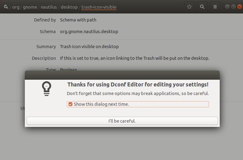 Accept Dconf editor warning