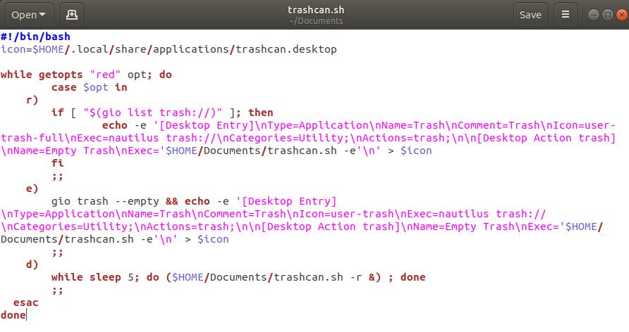 trashcan.sh script