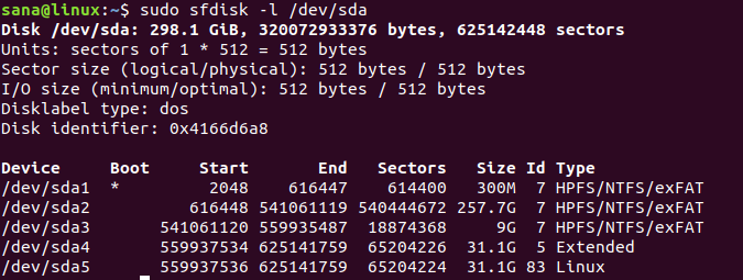 Partitions shown by sfdisk command