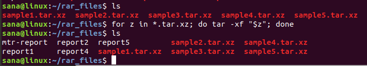 Extract multiple tar.gz files on Linux