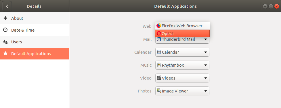 Ubuntu default Browser settings