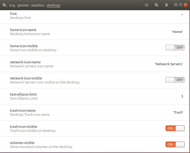 Select /org/gnome/nautilus/desktop/ tree