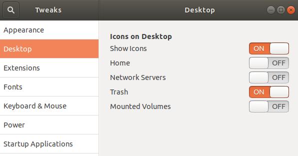 Tweaks Desktop settings