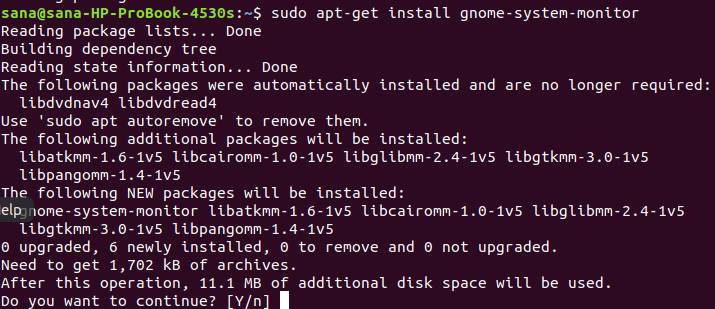 Install GNOME System Monitor with apt
