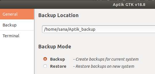Set backup Location