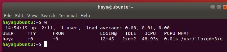Ubuntu w command