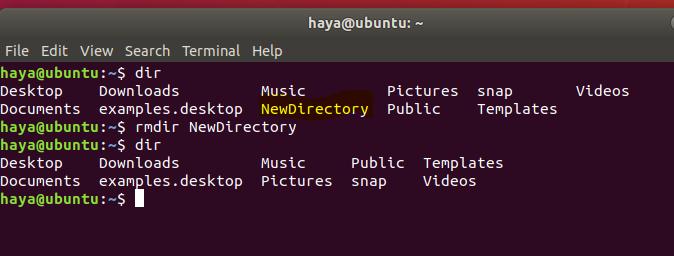Ubuntu rmdir command