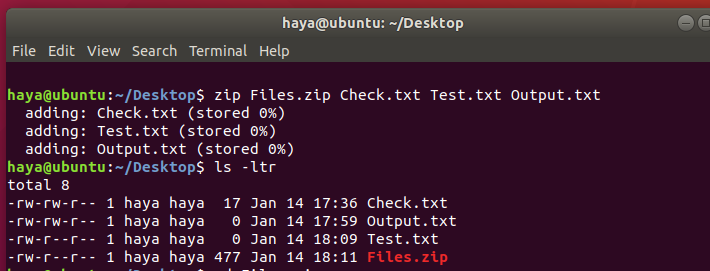 Ubuntu zip command