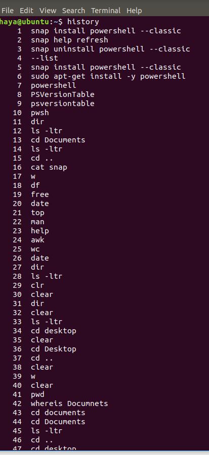 Ubuntu history command