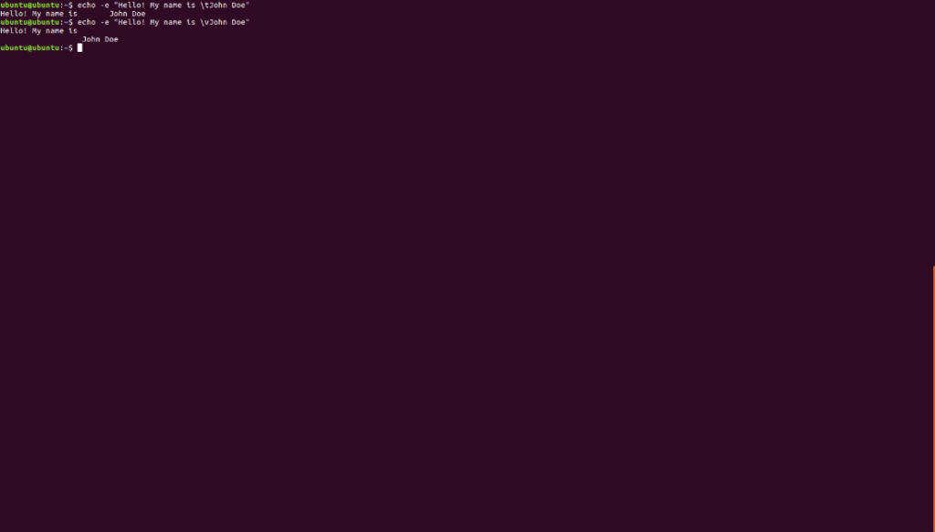 Use \v in bash output