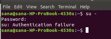 Su command - authentication failure