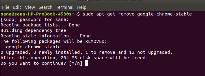 Remove software with apt-get command