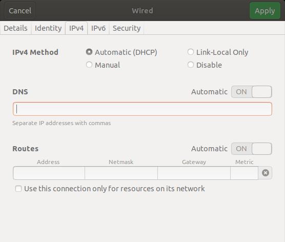 IPv4 Settings > DNS