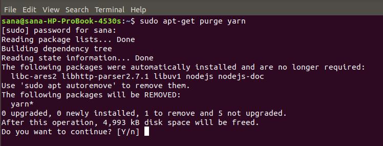 Remove Yarn